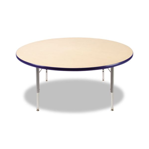 Virco Primary Collection Height Adjustable Round Activity Table with Navy Banding