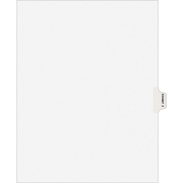 Avery-Style Preprinted Legal Side Tab Divider, Exhibit Z, Letter, White, 25/Pack