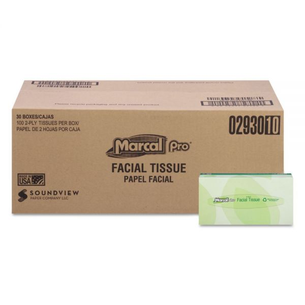 Marcal PRO 100% Recycled Convenience Pack Facial Tissue, White, 100/Box, 30 Boxes/Carton