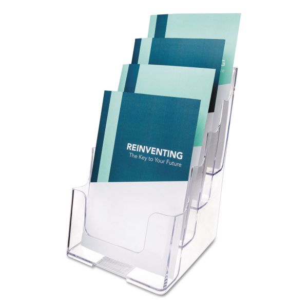 deflect-o Four-Tier Plastic Desktop Booklet Display Rack, Clear
