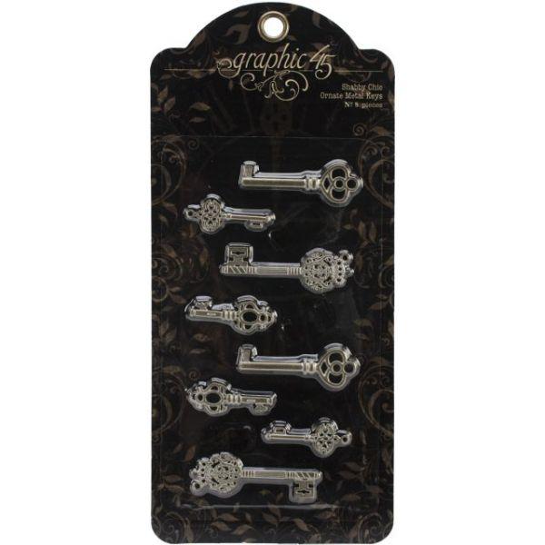 "Staples Ornate Metal Keys 1.375"" To 2.125"" 8/Pkg"