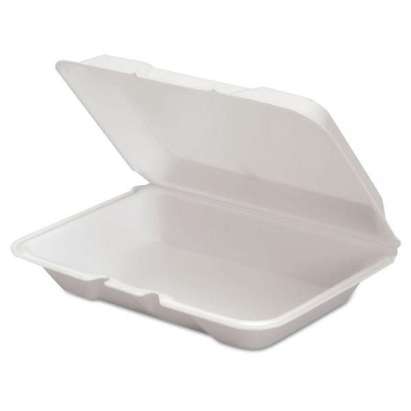 Genpak Foam Hinged Container, 9 1/4 x 6 1/4 x 2.31, White, 100/Bag, 2 Bag/Carton