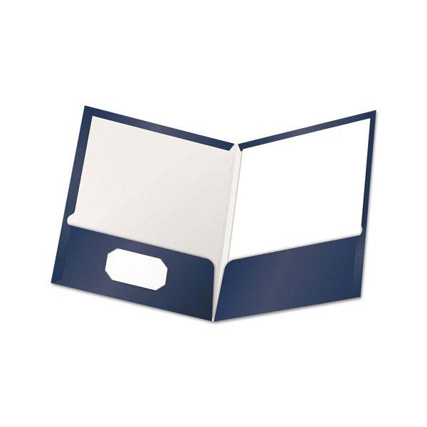 Oxford High Gloss Laminated Paperboard Folder, 100-Sheet Capacity, Navy, 25/Box