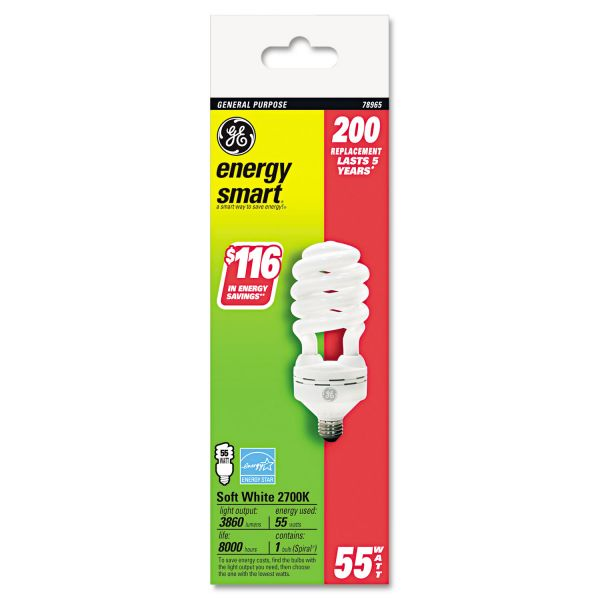 GE Energy Smart Compact Fluorescent Spiral Light Bulb, 55 Watts