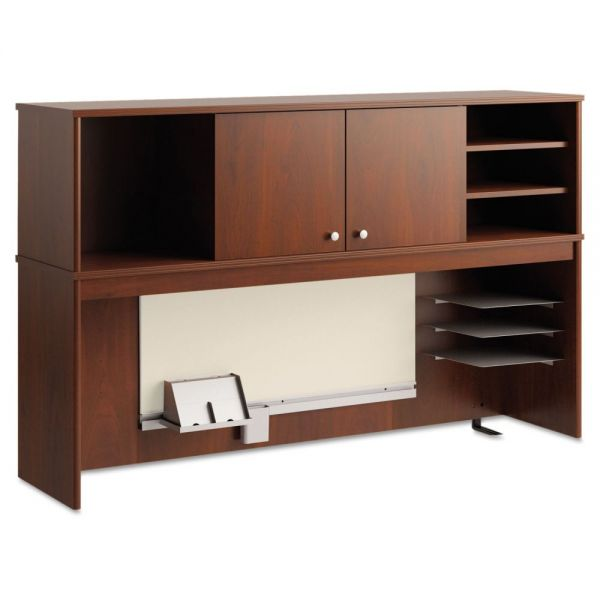 Office Connect by bbf Envoy Series Hutch, 58w x 14-1/4d x 36-1/4h, Hansen Cherry by Bush Furniture