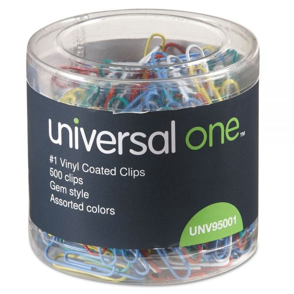 Universal Plastic-Coated Wire Paper Clips, No. 1, Assorted Colors, 500/Pack