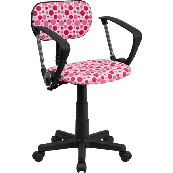 Flash Furniture Pink Dot Task Chair with Arms