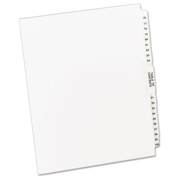 Avery-Style Legal Exhibit Side Tab Divider, Title: 76-100, Letter, White
