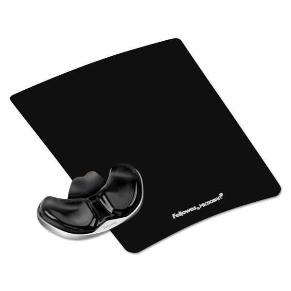 Fellowes Gel Gliding Palm Support w/Mouse Pad, Black
