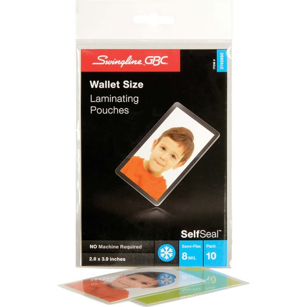 Swingline GBC SelfSeal Single-Sided Wallet Laminating Sheets, 8mil, 2 3/8 x 3 7/8, 10/Pack