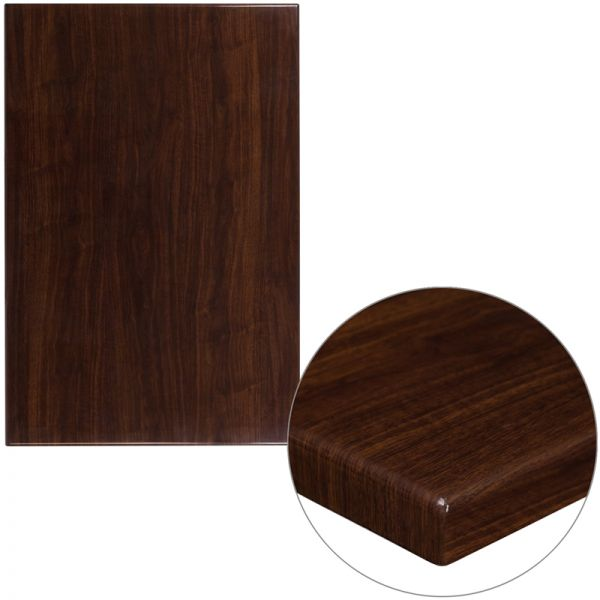 Flash Furniture 30'' x 45'' High-Gloss Walnut Resin Table Top with 2'' Thick Drop-Lip