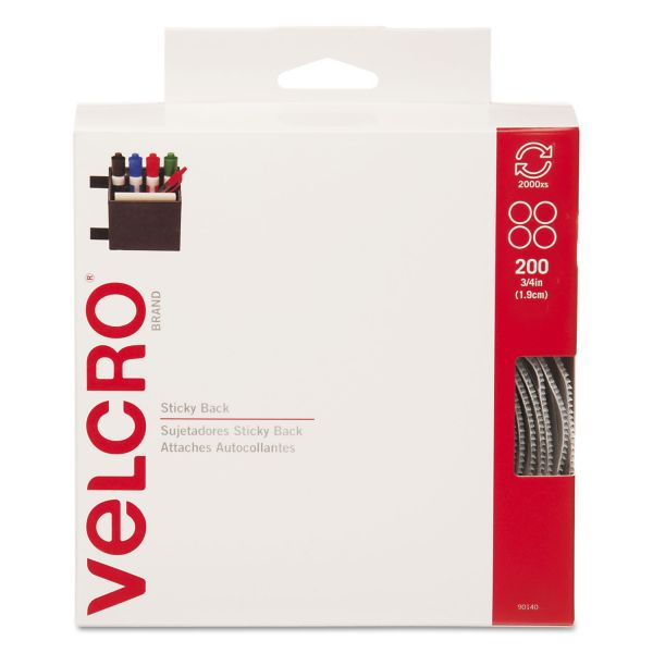 "Velcro Sticky-Back Hook & Loop Dot Fasteners, Dispenser, 3/4"", Beige, 200/Roll"