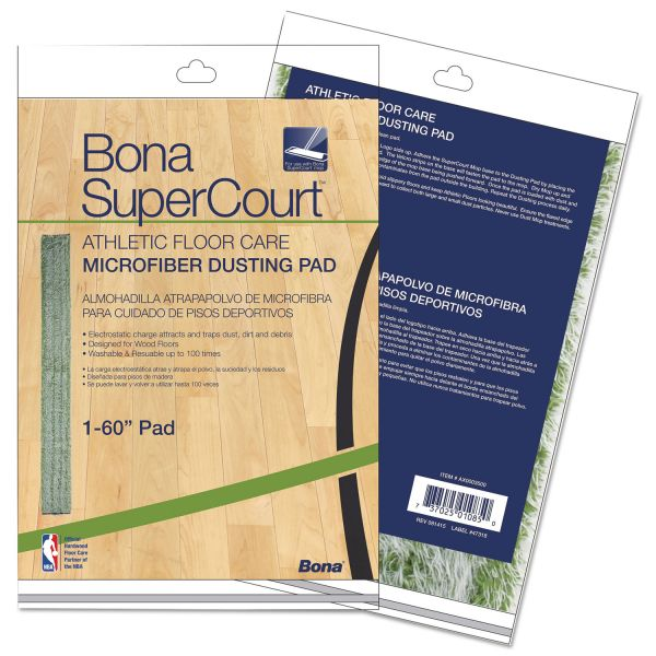 "Bona SuperCourt Athletic Floor Care Microfiber Dusting Pad, 60"", Green"