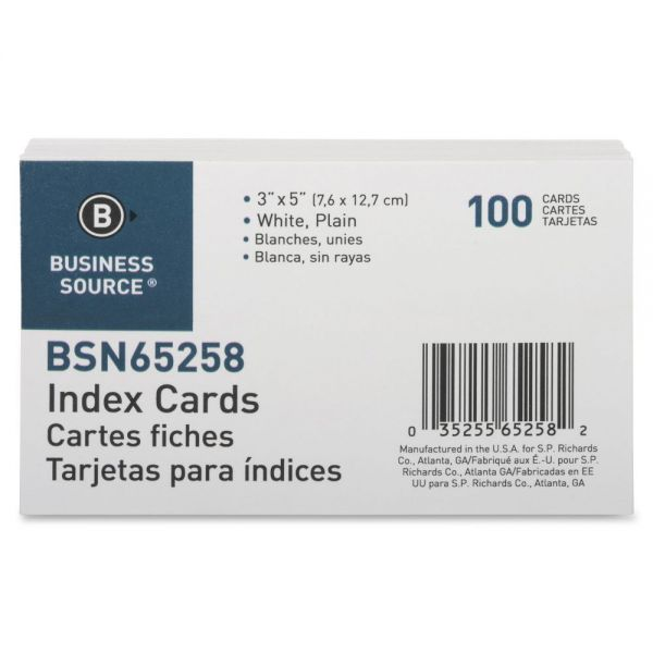 "Business Source 3"" x 5"" Blank Index Cards"