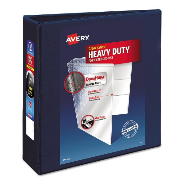 "Avery Heavy-Duty 3-Ring View Binder w/Locking 1-Touch EZD Rings, 3"" Capacity, Navy Blue"