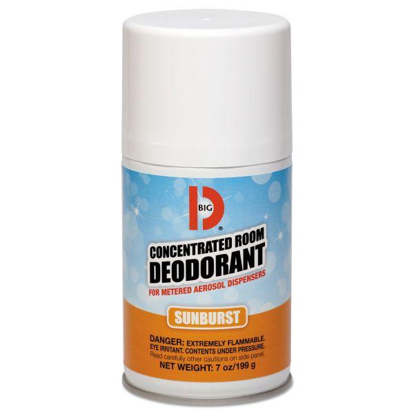 Big D Industries Metered Concentrated Room Deodorant, Sunburst Scent, 7 oz Aerosol, 12/Carton