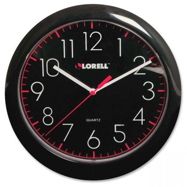 "Lorell 10"" Quartz Black Face Wall Clock"