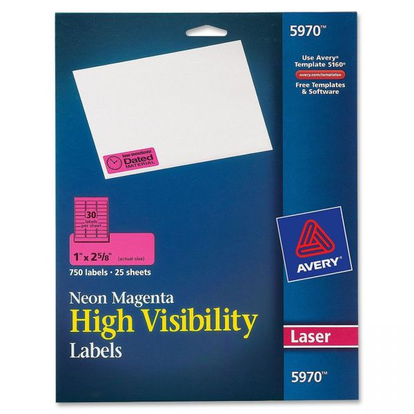 Avery Neon Rectangular Labels for Laser and/or Inkjet Printers