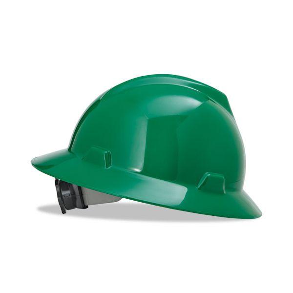 MSA V-Gard Full-Brim Hard Hats, Ratchet Suspension, Size 6 1/2 - 8, Green