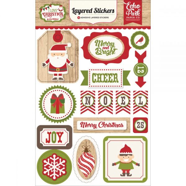 I Love Christmas Layered Stickers
