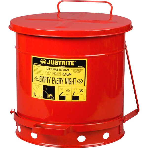 JUSTRITE Red Oily Waste Can with Lever Lid