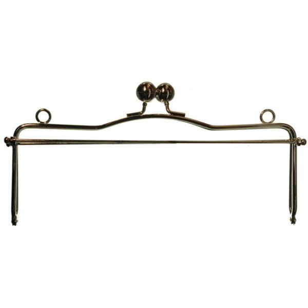 Metal Purse Frame W/Ball Clasp & Loops 10""
