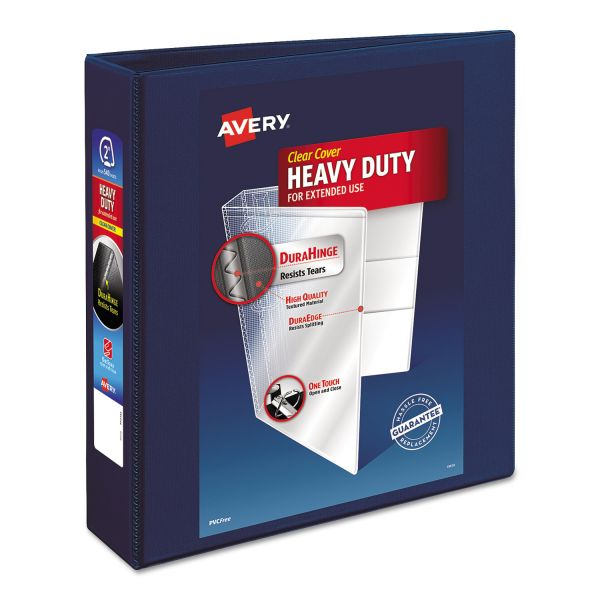"""Avery Heavy-Duty 3-Ring View Binder w/Locking 1-Touch EZD Rings, 2"""" Capacity, Navy Blue"""