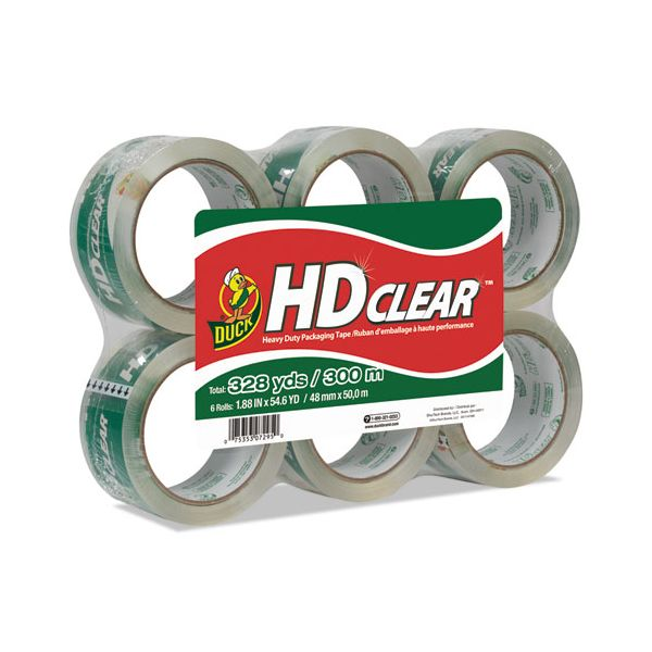 """Duck Heavy-Duty Carton Packaging Tape, 1.88"""" x 55yds, Clear, 6 Rolls"""