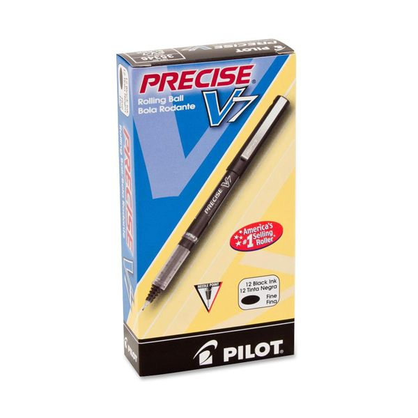 Pilot Precise V7 Roller Ball Stick Pen, Precision Point, Black Ink, .7mm, Dozen
