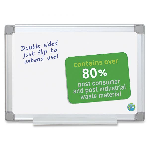 """MasterVision 24"""" x 18"""" Earth Silver Easy Clean Melamine Dry Erase Whiteboard"""