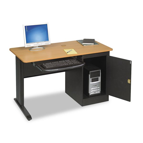 BALT LX48 Computer Security Workstation, 48w x 24d x 28-3/4h, Teak/Black