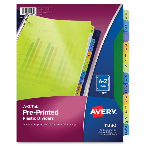 Avery Preprinted Alphabet Tab Index Dividers