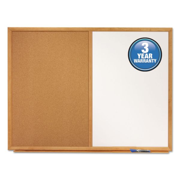 Quartet Bulletin/Dry-Erase Board, Melamine/Cork, 48 x 36, White/Brown, Oak Finish Frame