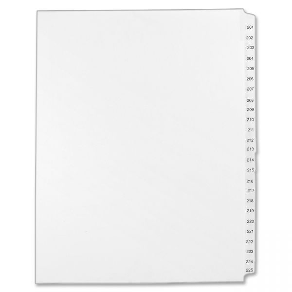 Avery-Style Legal Exhibit Side Tab Divider, Title: 201-225, Letter, White