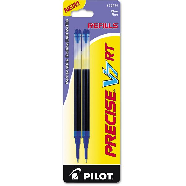 Pilot Refill for Precise V7 RT Rolling Ball, Fine, Blue Ink, 2/Pack
