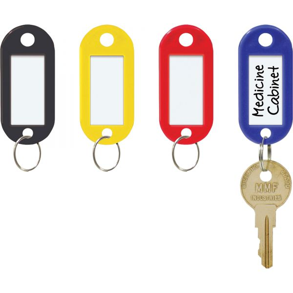 MMF Industries Color-Coded Key Tags with Label Window, Plastic, 2 x 7/8, Assorted, 20/Pack