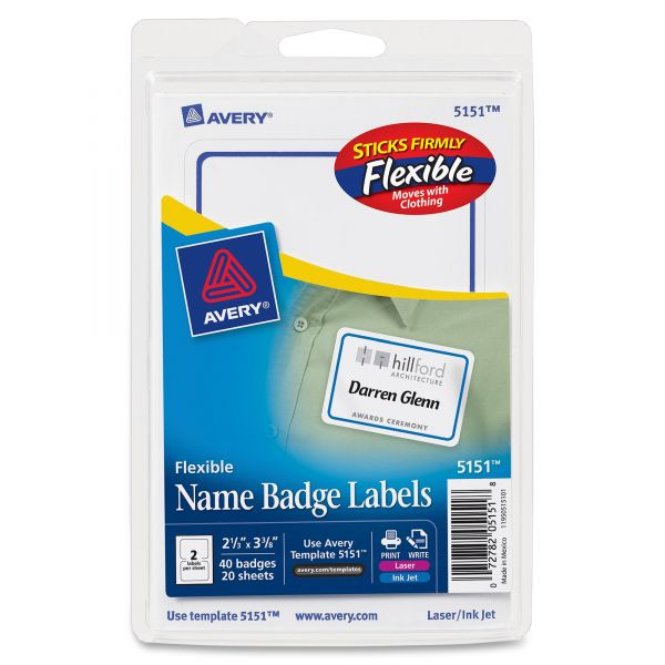 Avery Flexible Self-Adhesive Name Tags