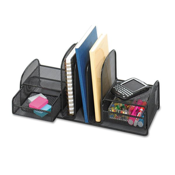 Safco Onyx Mesh Desk Organizer, Three Sections/Two Baskets, 17 x 6 3/4 x 7 3/4, Black