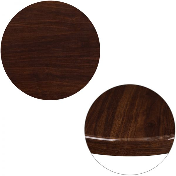 Flash Furniture 24'' Round High-Gloss Walnut Resin Table Top with 2'' Thick Drop-Lip