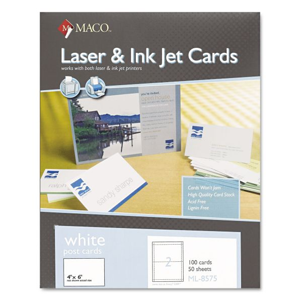 MACO Unruled Microperforated Laser/Ink Jet Index Cards, 4 x 6, White, 100/Box