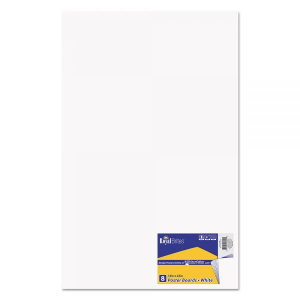Royal Brites Premium Coated Poster Board, 14 x 22, White, 8/Pack