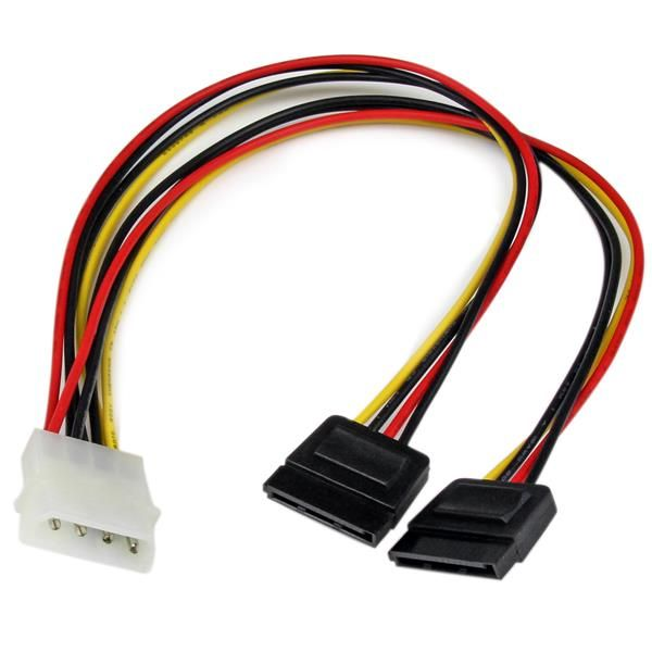 StarTech.com 12in LP4 to 2x SATA Power Y Cable Adapter