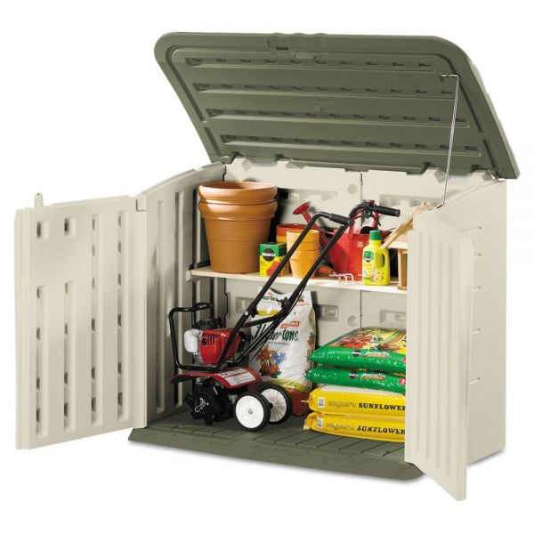 Rubbermaid Large Horizontal Outdoor Storage Shed, 57 x 32 x 47, Olive Green/Sandstone