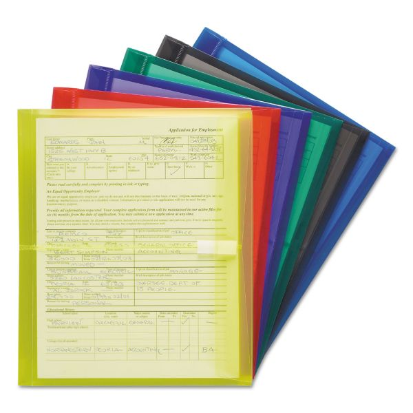 "Smead Poly Side-Load Envelopes, 1 1/4"" Exp, Letter, Six Colors, 6/Pack"