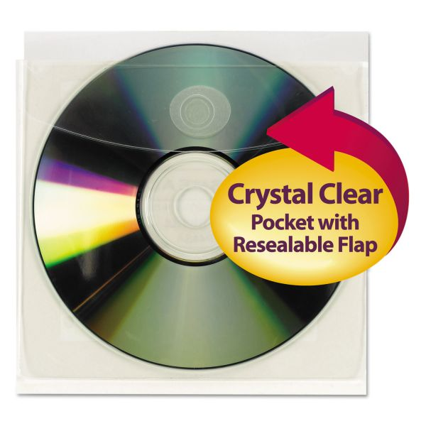 Smead 68144 Clear Self-Adhesive Poly CD/DVD Pockets