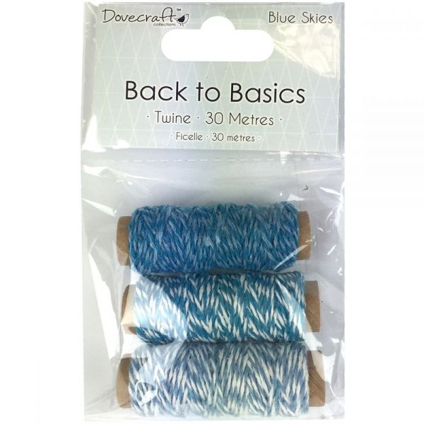 Dovecraft Back To Basics Blue Skies Twine 10m 3/Pkg