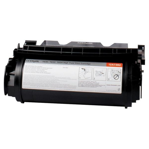 Lexmark 12A7362 High-Yield Toner, 21000 Page-Yield, Black