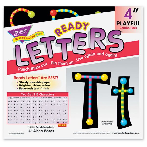 "TREND Ready Letters Alpha-Beads Letter Combo Pack, Black,Multiple Colors, 4""h, 216/Set"