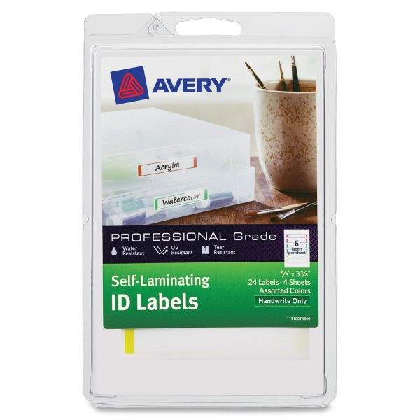 Avery Self-Laminating ID Labels, 4 x 6 Sheet, 2/3 x 3 3/8, White/Asst, 24/Pack