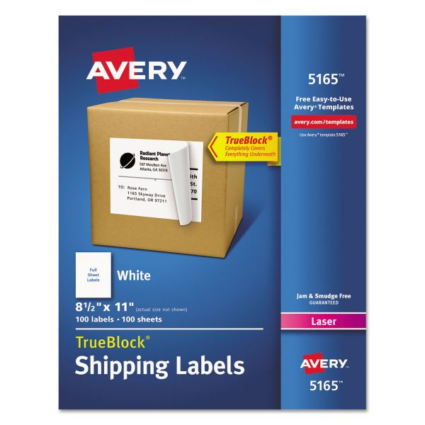 Avery Full-Sheet Labels with TrueBlock Technology, Laser, 8 1/2 x 11, White, 100/Box